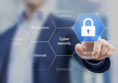 Concepto de seguridad cibernética en la pantalla virtual con un consultor haciendo presentación en el fondo