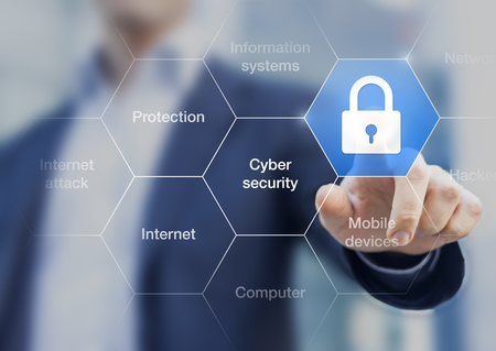 Cyber security concept on virtual screen with a consultant doing presentation in the background Foto de archivo