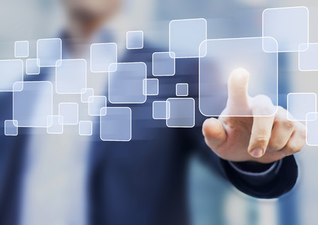 Abstract business concept, businessman touching a button on a virtual interface, technology
