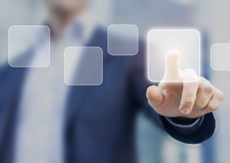 Business person touching a button on a digital interface screen, concept about choosing a solution