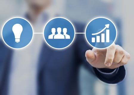 implemented: Success in business originates from innovative ideas implemented by a team of motivated people. Concept with modern icons of light bulb, group of people and growing chart Stock Photo