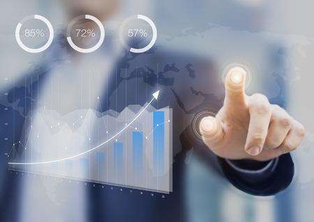 Tableau de bord Business Intelligence avec indicateurs de performance clés sur une interface informatique, consultant financier en contact avec l'écran