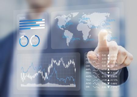 Financial dashboard with key performance indicators and charts analyzing stock market prices, businessman touching business portfolio kpi Standard-Bild