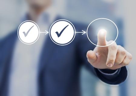 Flujo de trabajo del proceso empresarial que ilustra la aprobación de la gestión, diagrama de flujo con el empresario en el fondo Foto de archivo