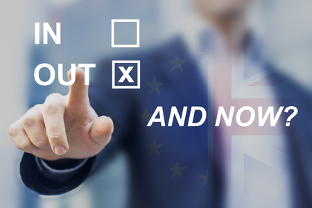 Uncertainty after United Kingdom voted for leaving the European Union, questions about future of Europe, new negotiations and regulations, and now? Stock Photo