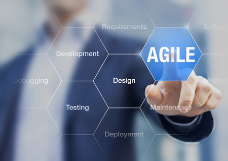 Agile software development principle on the screen with businessman touching button, concept about scrum, iterative methods