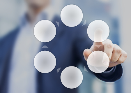 Presentation of a cycle business process diagram with six empty circles and a businessman in background Standard-Bild