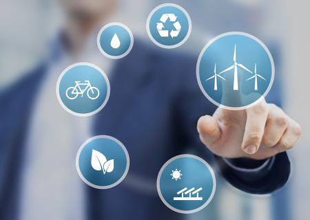 仮想画面上のアイコンと持続可能な開発のための再生可能エネルギーについてのプレゼンテーション