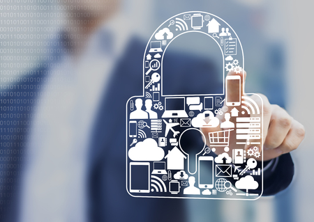 Concept about security of digital information such as internet, e-commerce, flights and mobile devices Banco de Imagens