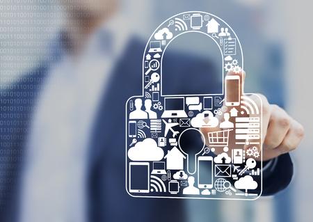 Concept over beveiliging van digitale informatie zoals internet, e-commerce, vluchten en mobiele apparaten Stockfoto - 70839053