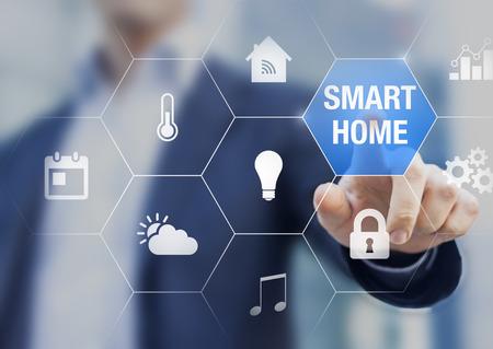 concepto de automatización del hogar inteligente con iconos que muestra las funcionalidades de esta nueva tecnología y una persona que toca un botón