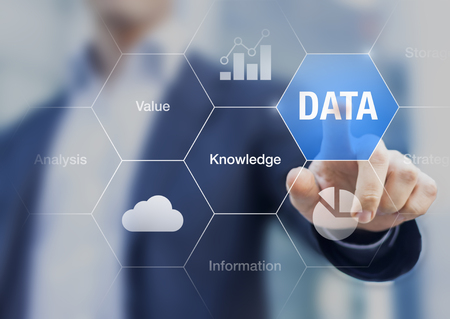 Concept about the value of data for information and knowledge Archivio Fotografico