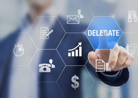 Concept about delegating tasks or work to assistant or subcontractor to save time and increase efficiency and profit Stock Photo