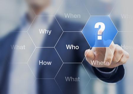 무엇을, 언제, 어디서, 누가, 어떻게, 왜 버튼을 만지는 사업가와 브레인 스토밍에 대한 개념, 의사 결정 및 솔루션 검색에 대한 질문