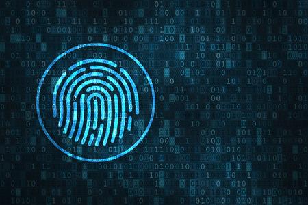 Concepto de seguridad de huella digital con el ícono de escaneo de dedos sobre fondo de dígitos binarios