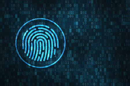 Digital fingerprint security concept with icon of finger scan over binary digits background