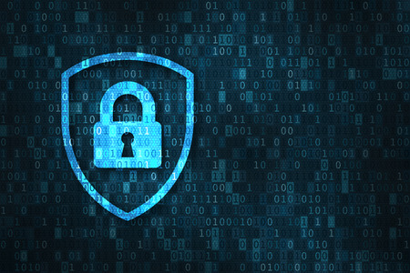 Cyber security and data privacy protection concept with icon of a shield and lock over binary digits background