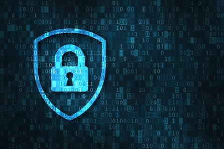 Seguridad cibernética y protección de la privacidad de datos concepto con el icono de un escudo y bloqueo de más de binario dígitos de fondo