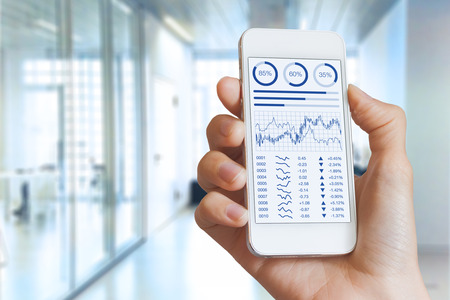 Smartphone screen with stock market investments financial dashboard, business intelligence (BI), and key performance indicators (KPI) and blurred office interior in background