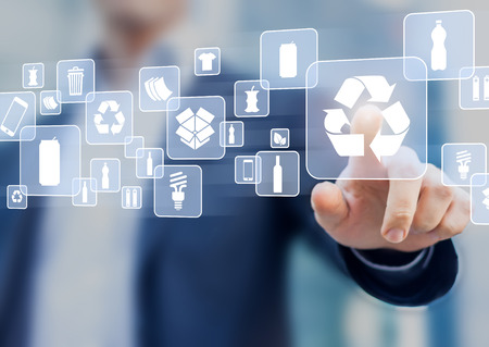 Recyclable waste materials sorting management on virtual computer screen and person touching recycling icon (paper, plastic, metal can, glass bottle, compost)