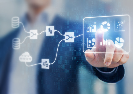 Data Management System (DMS) and Business Analytics concept with servers connected to dashboard to provide information for Key Performance Indicators (KPI), person in background, marketing analysis Banque d'images