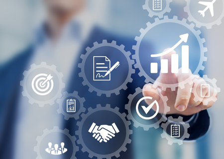 Business process management and automation concept with icons of hiring workflow, document validation, information in connected gear cogs, businessman touching screen