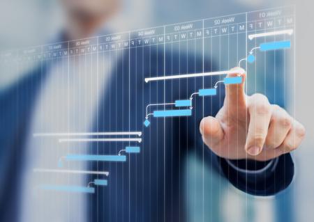 Il project manager che aggiorna le attività e le milestone progrediscono pianificando con l'interfaccia di pianificazione del diagramma di Gantt su uno schermo virtuale