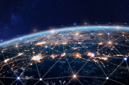 Global world telecommunication network with nodes connected around earth, concept about internet and worldwide communication technology Reklamní fotografie