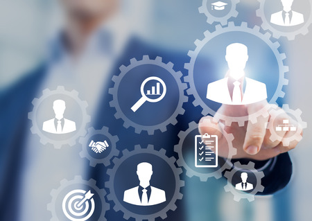 Human resources management and recruitment business process concept with HR manager selecting candidate for hiring Stock Photo
