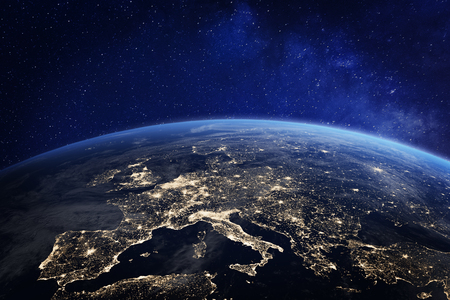 Europe at night viewed from space with city lights showing human activity in Germany, France, Spain, Italy and other countries, 3d rendering of planet 스톡 콘텐츠