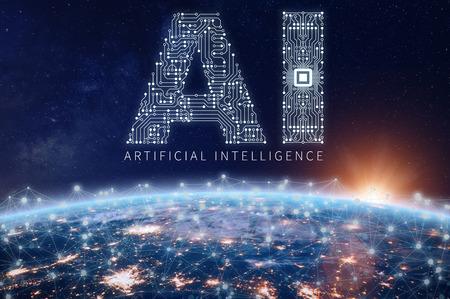 Künstliches Intelligenz-Technologiekonzept mit Text-KI aus elektronischer Leiterplatte mit Mikrochip über dem Planeten Erde mit verbundenem Netzwerk, Datenaustausch und Computer