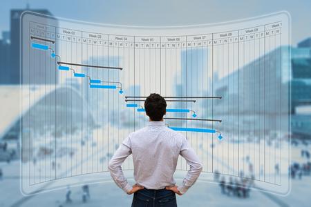 Projektmanager, der mit der Gantt-Diagrammplanung arbeitet, Meilensteine und Ergebnisse verfolgt und den Fortschritt der Aufgaben aktualisiert, Fähigkeiten plant, auf einem virtuellen Bildschirm mit Stadthintergrund