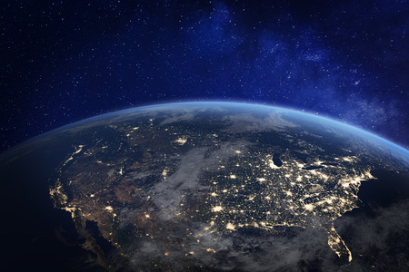 North America at night viewed from space with city lights showing human activity in United States (USA), Canada and Mexico, New York, California, 3d rendering of planet Earth 版權商用圖片