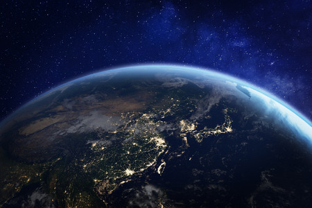 Asia at night from space with city lights showing human activity in China, Japan, South Korea, Taiwan and other countries, 3d rendering of planet Earth, elements from Foto de archivo