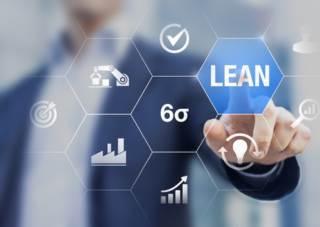Lean manufacturing and six sigma management and quality standard in industry, continuous improvement, reduce waste, improve productivity and efficiency, keizen, manager touching concept with icons Stock Photo