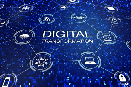 Digital transformation technology concept with icons of cloud computing, data, computer, database and devices connected to internet over abstract code, change management business processes