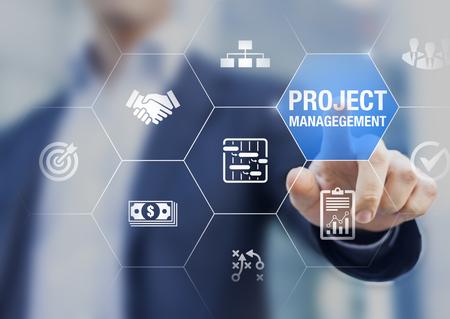Gerente de proyectos profesional con íconos sobre tareas de planificación e hitos en el cronograma, gestión de costos, monitoreo del progreso, recurso, riesgo, entregables y contrato, concepto de negocio