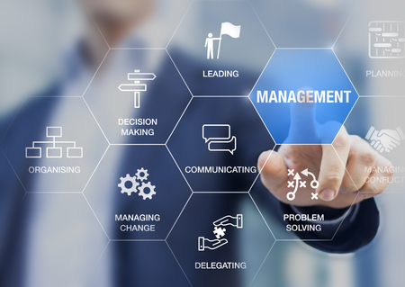 Management skills concept with manager touching icons of professional managing expertise, leadership, communicating, organizing, delegating, problem solving, decision making for business executives Stock Photo