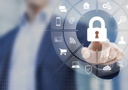 Cybersecurity on internet with person touching interface with icons of wireless network connection access on mobile, online payment, smartphone app, smart home, IoT, protect data against cyber crime Reklamní fotografie
