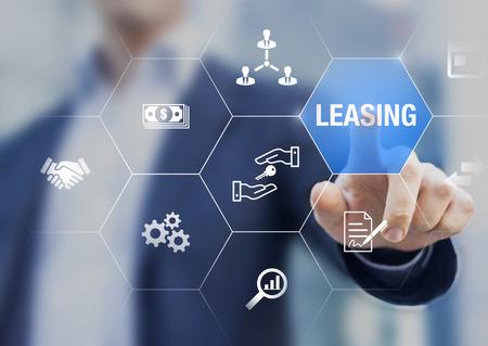 Leasinggeschäftskonzept mit Symbolen über Vertragsvereinbarung zwischen Leasingnehmer und Leasinggeber über die Miete eines Vermögenswerts wie Auto, Fahrzeug, Land, Immobilien oder Ausrüstung oder Kauf, professioneller Geschäftsmann