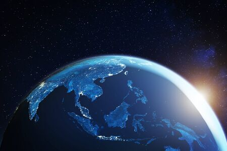 Zuidoost-Azië vanuit de ruimte 's nachts met stadslichten met Zuidoost-Aziatische steden in Thailand, Vietnam, Maleisië, Singapore en Indonesië, 3D-weergave van de planeet aarde
