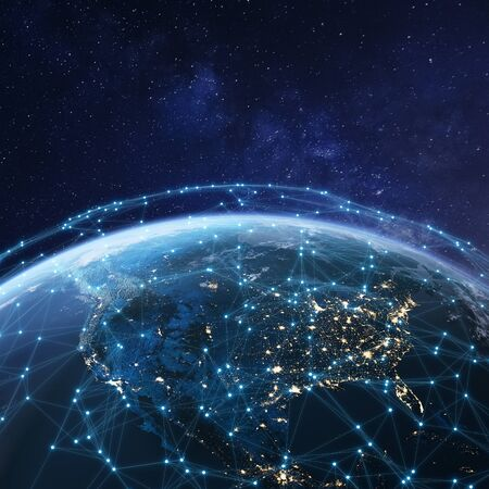 Rete di telecomunicazioni sopra il Nord America dallo spazio di notte con luci della città in USA, Canada e Messico, satellite in orbita attorno al pianeta Terra per Internet of Things IoT e tecnologia blockchain