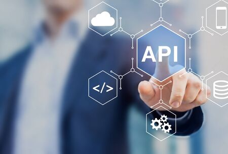 API Application Programming Interface connect services on internet and allow network data communication, software engineer touching concept for IoT, cloud computing, robotic process automation