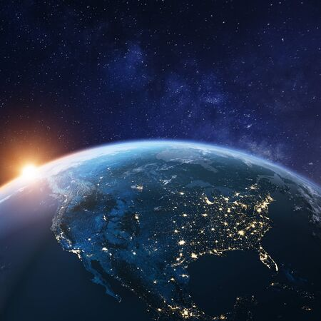 USA from space at night with city lights showing American cities in United States, Mexico and Canada, global overview of North America, 3d rendering of planet Earth. Reklamní fotografie