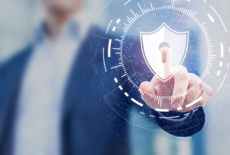 Cybersecurity of digital network systems with computer security engineer touching shield icon. Information technology protected with firewall, secure access and encryption against cyber attacks