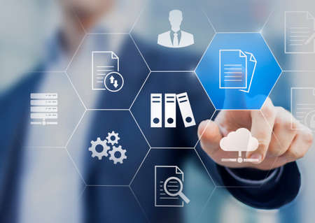Document Management System (DMS) used to store, search and manage review process and users for corporate files and information in enterprise. Concept with business manager pointing to icons.