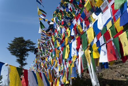 Tibetan hanging prayer flag during losar, tibetan new year in Dharamsala, India