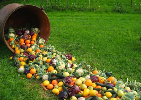 spilling: fruits and vegetables spilling from the pot