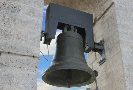 bell tower: close-up on a bell tower