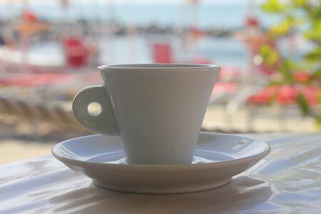 italian sea: italian espresso in front of the sea